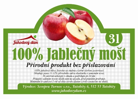 100% Jablečný mošt 3l bag in box