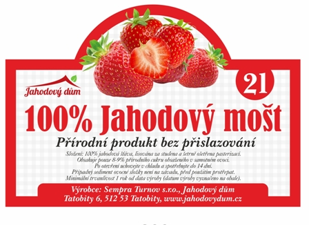 100% Jahodový mošt 2l bag in box
